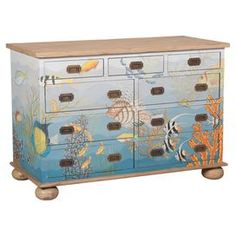 """Hand-painted mahogany wood dresser with a multicolor undersea motif and bun feet. Product: ChestConstruction Material: MahoganyColor: MultiFeatures: Hand-paintedDimensions: 32"""" H x 47"""" W x 22"""" DCleaning and Care: Wipe with dry cloth"""