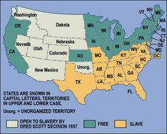 Map Illustrating The Missouri Compromise Of Under Terms - Map of us slave states