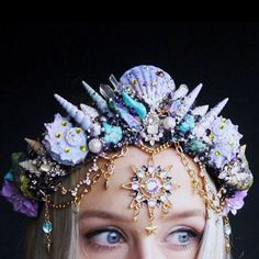 The Sea Witch Crown in iridescent Purple - Mermaid Crown - Shell Crown - Crystal Crown clothes water The Sea Witch Crown in iridescent Purple - Mermaid Crown - Shell Crown - Crystal Crown Mermaid Sign, Mermaid Crown, Cute Jewelry, Hair Jewelry, Mermaid Headpiece, Shell Crowns, Seashell Crown, Magical Jewelry, Mermaid Tails