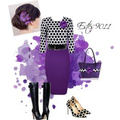 """Purple Polka Dot"" by estes9011 on Polyvore"