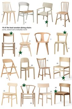 16 of the best simple wooden dining chairs. chair dining 16 of the best simple wooden dining chairs - cate st hill Wooden Dining Chairs, Painted Chairs, Metal Chairs, Wooden Dining Table Designs, Simple Dining Table, Scandinavian Dining Chairs, Tire Chairs, Chair Design Wooden, Furniture Design