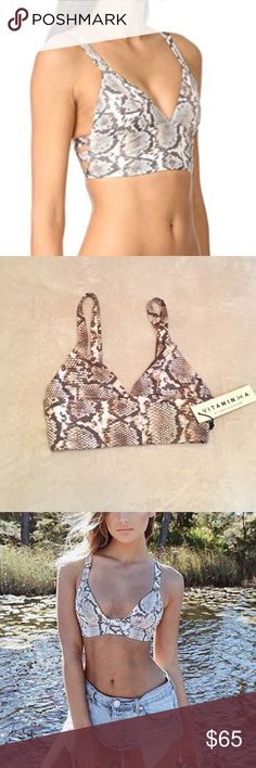 NWT Vitamin A Neutra Bustier Bikini Top Chic snakeskin print with an elegant back strap cut out. Perfect for poolside attire! Pullover bustier style. Fully lined.  Retails for $120  Size XS  I have the matching 🏖 beach cover up shorts in my closet! Check it out! So cute together. Vitamin A Swim Bikinis