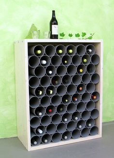 latest photos towel upcycling ideas career wine rack from downpipes Who . latest photos towel upcycling ideas career wine rack from downpipes Who actually says that only rainwater can drain in downpipes? Wein, Sekt und and home decor Diy Academy, Pvc Pipe, Wine Storage, Ikea Hack, Wine Cellar, Wine Rack, Wood Projects, Diy Furniture, Diy Home Decor
