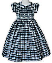 Black Plaid Smocked Silk Girls Dress
