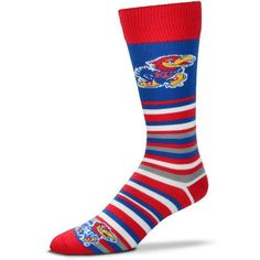 For Bare Feet University of Kansas Lotta Stripe Dress Socks (Blue, Size One Size) - NCAA Licensed Product, NCAA Novelty at Academy Sports