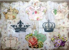 Rice Paper for Decoupage Decopatch Scrapbooking Sheet Craft Vintage Royal Crown