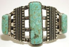 Old Pawn Navajo #8 Turquoise Sterling Silver Cuff Bracelet - Harrison Jim