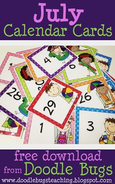Doodle Bugs Teaching {first grade rocks!}: July Calendar Cards {free download}