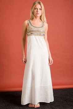 Long Isis Dress with Embroidery and metallic details - White