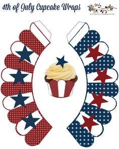 Free-download 4th of July Cupcake Wraps