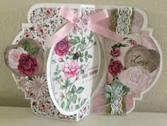 CraftEmotion Botanical Rose Garden Collection available April 2016. Card made by Anke Soeters.