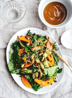 Butternut squash and avocado salad with tahini sauce