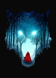 dv designstudio dverissimo bad wolf red riding hood dark forest girl fairytale night silhouette story digital vector nature illustration blue