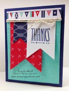 Sea Street Class Kit to Go with How To Video, Kay Kalthoff is Stamping to Share with Stampin' Up!, Hip Notes, Summer Thank You Card
