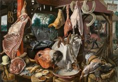 Pieter Aertsen, A Meat Stall with the Holy Family Giving Alms, 1551, oil on panel 45 1/2 x 66 1/2 inches / 115.6 x 168.9 cm (North Carolina Museum of Art). Other versions include one in the University Art Collections, Uppsala University, Sweden.