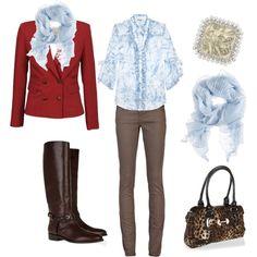 Red jacket, leopard print purse, cowboy boots!