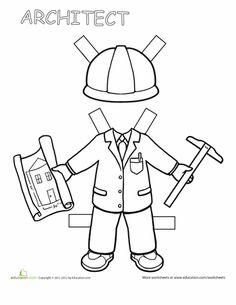 Worksheets: Career Paper Dolls: Boy Architect