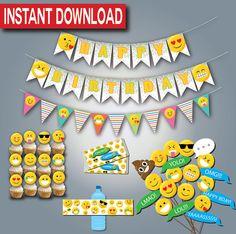 Emoji Birthday Party Supplies-Instant download- Printable- Digital Files-Emoticon Party
