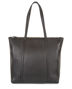 Julianne Leather Zip Tote - Black - Main Product Image