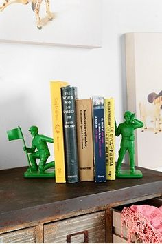 Use the big soldiers from Target and glue them to pieces of spray painted 2x4.
