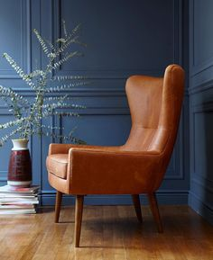 Meet Erik, our new leather wing chair. Isn't he handsome? #mywestelm #MCM