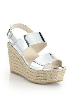 5fb62010223d Prada - Patent Metallic Leather Espadrille Wedge Sandals Leather Espadrilles