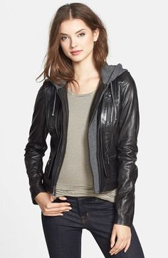 Marc New York 'Mila' Knit Hood Leather Jacket on shopstyle.com