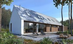 DOM.PL™ - Projekt domu DZW Odważny 2 CE - DOM DW1-90 - gotowy koszt budowy Bungalow Extensions, Small Cottages, Good House, House Goals, Modern House Design, Home Fashion, Exterior Design, House Styles, Outdoor Decor