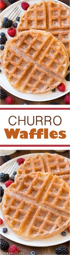 Churro Waffles - These taste just like a churro in waffle form! Seriously delicious!!