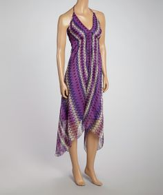 Take a look at the Lilac Geometric Halter Dress on #zulily today!