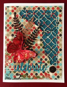 Tim Holtz thinlets; Fern Leaf from Dee's Distinctively; Stampin Up boarder; Memory Box Vivienne Butterfly.