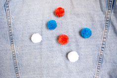 3-контактный значки красный белый синий помпонами POMPIN идут синие от LaRobotte