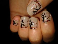 Autumn nails - could be cute with one accent, leaves flowing through other fingers, and a pile of leaves on thumb