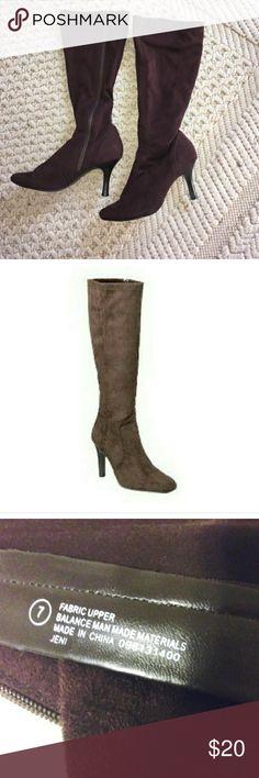 d7bd3c81cd03 Isaac Mizrahi Brown Vegan Suede knee high boots Gently used Great  conditions Heels 3 1/