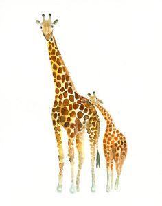 Acquerello di dolci giraffe, mamma e figlio // Watercolour illustration of cute giraffes, mother and cub - di dimdimini via it.dawanda.com #animals