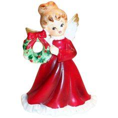 Napcoware Hand Painted Christmas Angel with Wreath Figurine - Marked