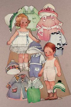 "American Paper Dolls by Hubbell-Leavens  each 12"". Depicting 2 young children,boy and girl,each with wide easel back,and including a wide selection of costumes and hats. Excellent condition,lovely coloring is well preserved. Hubbell- Leavens,series of 1920's."