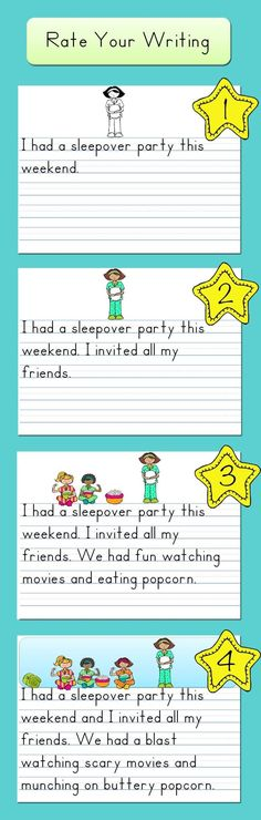WORK ON WRITING - I love this! It is so important for students to see models! Using a rubric scale to compare weak and strong writing models is a great way for students to begin to reflect on their own writing! Kindergarten Writing, Teaching Writing, Writing Activities, Teaching Ideas, Writing Lessons, Writing Skills, Writing Rubrics, Sentence Writing, Writing Ideas