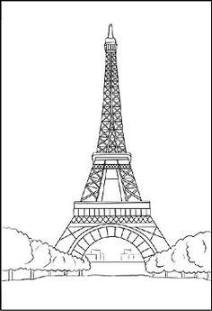 Malvorlage vom Eiffelturm in Frankreich