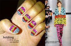 Mary Katrantzou inspired floral nail art