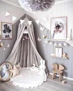 Love this beautiful kid's room! Linen canopy, Miffy lamp and Vita Eos lamp - Project Nursery - meadoria