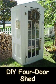 Build a tool shed from four repurposed doors! Need one in your garden? Would look fantastic painted blue.