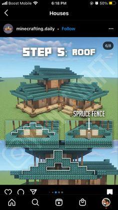 Minecraft Roof, Minecraft House Plans, Minecraft Redstone, Minecraft Structures, Minecraft Mansion, Minecraft Cottage, Minecraft House Designs, Minecraft Tips, Minecraft Blueprints