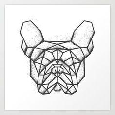 Fench Bulldog Geometric Sketch Art Print by Airborne Creative | Society6