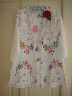 A Most Stunning Spring Summer Lightweight Kimono Style Plus Size Vintage Hand Embroidered Open White Jacket with Recycled Antique Doiles