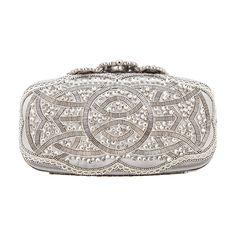 Oscar De La Renta Crown Goa Evening Clutch ($2,250) ❤ liked on Polyvore featuring bags, handbags, clutches, purses, oscar de la renta, white hand bags, evening clutches, holiday purse, man bag and holiday handbags