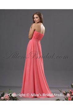 Chiffon Strapless Neckline Floor Length Column Bridesmaid Dress with Rhinestones