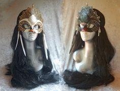 Black Swan and White Swan Masks by =angelasasser-artisan on deviantART