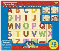 Fisher-Price ABC Alphabet Puzzle Block Set (Little People) 30-Piece