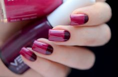 Bicolor nail art: plum & burgundy half-moon nails